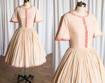 Strawberry Creme dress | vintage 60s dress | pink eyelet 1950s dress | fit & flare 50s dress | 1960s pink cream cotton eyelet lace dress