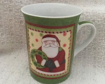 Christmas Mug by Debbie Mumm, Santa Mug by Debbie Mumm, Holiday Mug, Porcelain Xmas  Mug, Debbie Mumm Designs, Santa Claus  Mug