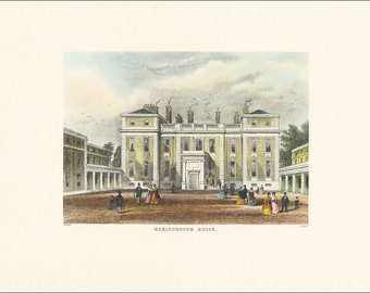 Victorian London Marlborough House vintage print coloured engraving 7 x 9.25 inches