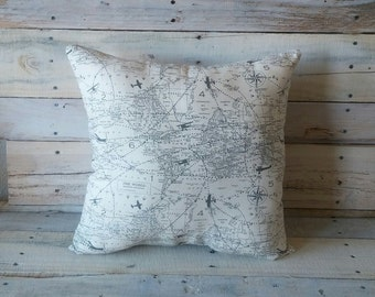 Aviation Map Accent Pillow Cover, Throw Pillow, Accent Pillow, Couch Cushion