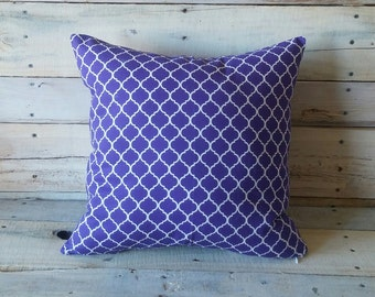 Purple and White Accent Pillow Cover, Throw Pillow, Couch Cushion
