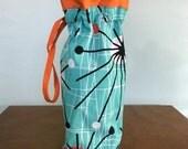 Wine, Hostess or Gift Bag - Knitting, Crochet or Fiber Project Bag - Mid Century Atomic