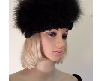 Vintage 60's/70's Black Hand Crocheted Rayon Ribbon Base Hat with Maribou Feather Crown