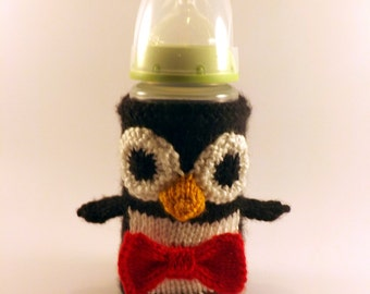 Knit Penguin Baby Bottle Cozy - Baby Bottle Cozy - Knitted Bottle Cover - Knit Penguin Bottle Cover