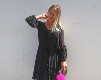 SALE Lucille Embroidered Dress Onyx S/M
