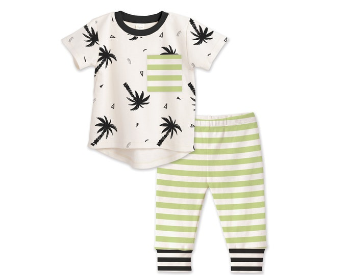 Baby Boy Outfit, Baby Boy Tshirt, Baby Boy Leggings, Minimalist, Palm Trees Outfit, Baby Shower, Baby Boy Clothes, Tesababe TL12PTCIG0000