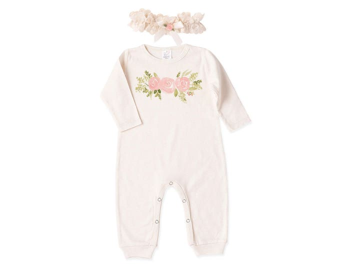 Baby Girl Romper, Newborn Girl Coming Home Outfit, Baby Floral Outfit, Pink & Ivory Romper, Baby Eyelet Headband, Tesababe RH81IY59SABHIYBF