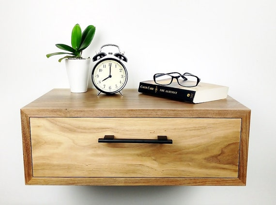 Floating nightstand nightstand with drawer nightstand for Wall hung nightstand