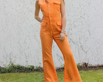 VTG 70's Orange Jumpsuit Disco Flare Hippie Boho 1970's Strech