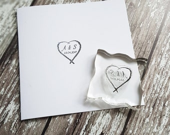 Custom Wedding Stamp, DIY wedding stamp, initials stamp, monogram stamp heart