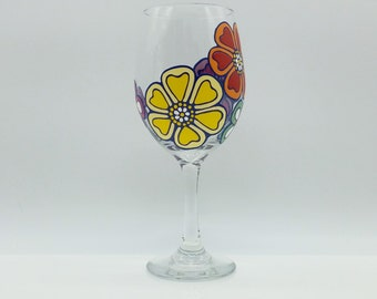 Tropical Hawaiian Flowers Flower Hand Painted Wine Glass Blue Red Pink Orange Yellow
