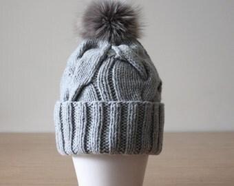 Cashmere hat with fur pom pom, Cashmere beanie, Cashmere hat, Fur pom pom hat, Grey hat, Cable knit hat, Fox fur pom pom