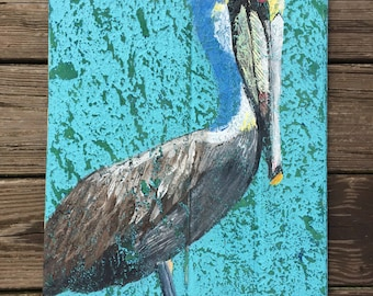 """Pelican painting, pelican pallet wood art, coastal decor, beach art wall decor on recycled reclaimed pallet wood, Size 18""""x14"""""""