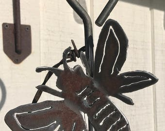 Steel Letter Metal Garden Wind Chime Bell - Outdoor Garden Yard Art - Recycled - Dinner Bell - Handmade Backyard Ornament - Patio Hanger