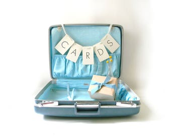 Vintage Blue Royal Traveller Suitcase/ Wedding Card Holder