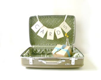 Vintage Sage Green & Tan Suitcase / Wedding Card Holder
