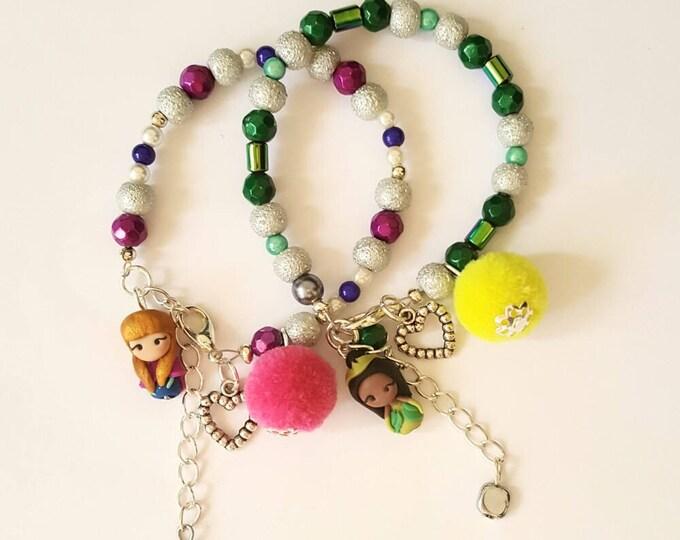 Tiana/Anna Disney Princesses inspired,adjustable bracelet collection. Disney bracelet. Disney jewelry. Clay charm. Princess doll.