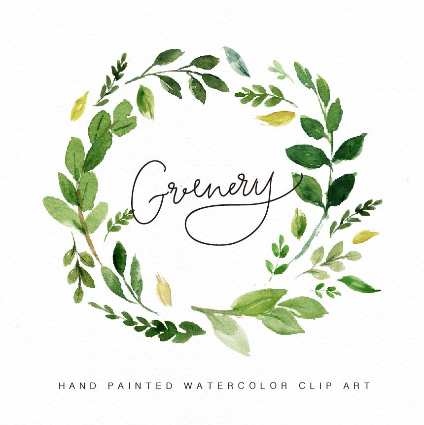 Watercolor flower wreath clipart greenery hand painted wedding for Watercolor greenery