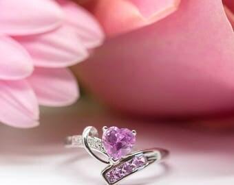 Pink Heart Sapphire and Diamond 10k White Gold Ring   Fine Jewelry   Engagement   Anniversary   Bride