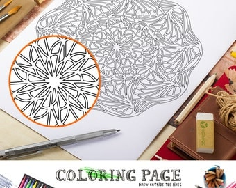 Instant Download Coloring Page Printable Mandala Adult Coloring Pages Doodle Wall Art Coloring Art Therapy Coloring Mandala Papercut Art Zen
