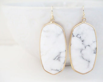 White Marble Pendant Earrings