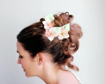 Vintage Flower Hairpins / Vintage Inspired Hair Pin / Vintage Velvet Flower / Fascinator Headpiece / Hair Accessory / Set of Three