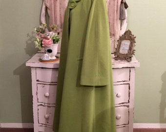 Green Minimalist Coat, Bill Blass Coat, Long Wool Coat, XL, Plus Size, Long Swing Coat w Bell Bracelet Sleeves, Womens Plus Outer Wear
