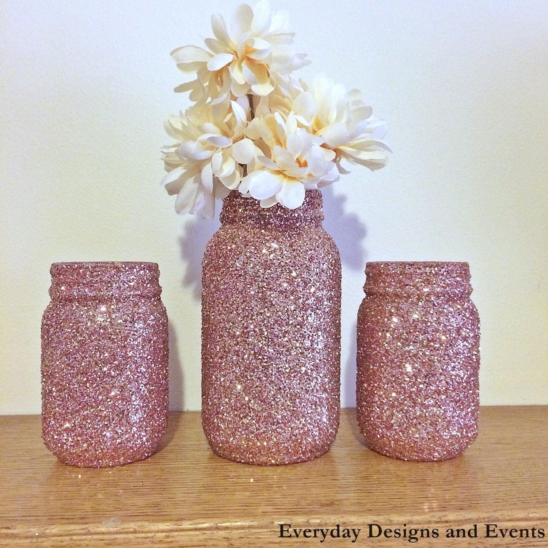 Mason Jar Centerpiece Ideas For Weddings: Rose Gold Mason Jars Rose Gold Wedding Rose Gold Glitter