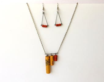 Recycled Electrical Earrings & Necklace Set, Orange and Yellow Upcycled Resistors, Gift for Engineer, Tesla Jewelry, Industrial Steampunk