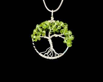 Peridot Necklace Pendant August Birthstone Tree Jewelry Wire Wrapped Minimalist Gemstone Tree of Life Pendant Metaphysical Jewelry (P326)