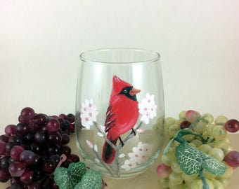 Stemless Wine glass, Wine Lover Gift, Red Cardinal Bird, Bird Decor, Gift for mom, Christmas wine gift, Bird Lover Art, Drinking Glasses