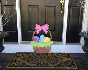 Easter Basket Outdoor Wood Decoration
