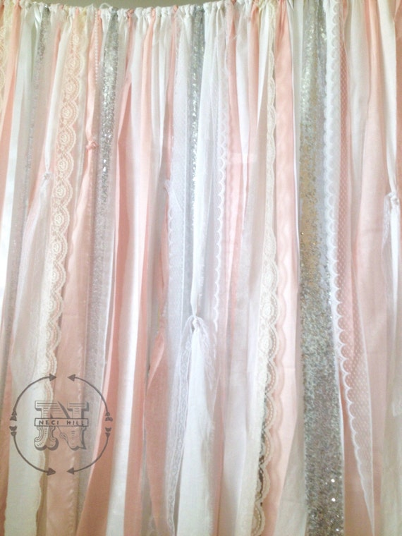 Blush Backdrop Silver Sequins Fabric Rag Garland By
