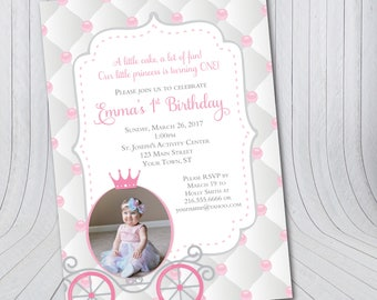 Princess Birthday Invitation {Digital File} First Birthday, Princess Carriage, Quilted Pearl Invitations