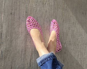 Jelly Sandals Ballet Flats Size 9, Cut Out Pink Jellie Ballet Flat Sandals, Plastic 90s Jelly Ballet Flats, Size 9 US Jelly Sandal, Summer