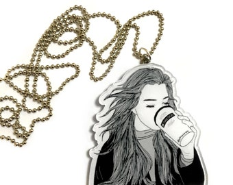 Girl Drinking Coffee, Coffee Lovers Gift , Long Silver Necklace, Coffee with Love, Modern Black white Art Print, drawing ink painting