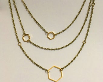 Hexagon Dainty Gold Necklace, Geometric Necklace, Layered Necklace,  Simple, Trendy, Modern design, Minimalist, Geometric, Industrial