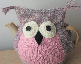 Owl, pink hand knitted tea cosy, medium pot