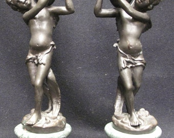 Set of Two Antique Bronze Cherub Candle Holders on Green Marble Bases
