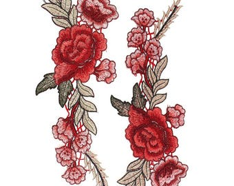 Red Roses Floral Embroidery Applique Pair of Fabric Patches - More Colours