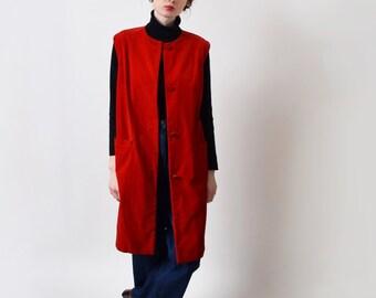1960s Red Velvet Duster Vest 60s Vintage Sleeveless Gilet Mod XS S M