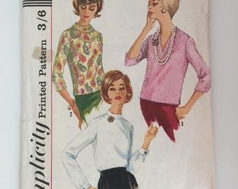 Simplicity 5111 1960s Blouse Sewing Pattern Size 12 Bust 32""