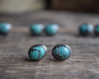 Choose Your Pair, Small Turquoise Stud Earrings Silver Turquoise Studs Tiny Turquoise Earrings Real Turquoise Earrings