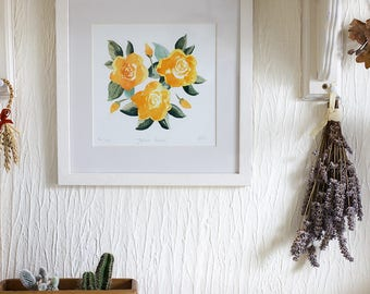 Square Giclee Print 'Yellow Roses' Illustration, Signed and Editioned by the Artist