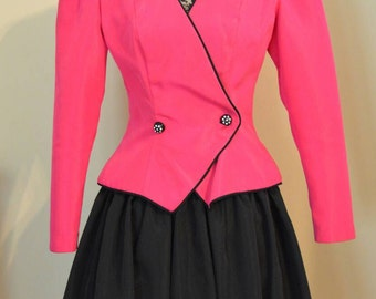 Vintage Women's Huey Waltzer for Darcy Round Black Skirt with Pink Blazer 80's Party Prom Outfit