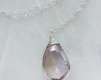 Ametrine Necklace, Sterling Silver Ametrine Pendant, Ametrine Gemstone Jewelry, Amethyst Necklace