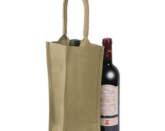 Fabric Wine Bag Tote for 1 bottle - heavy handle - for painting / stencling