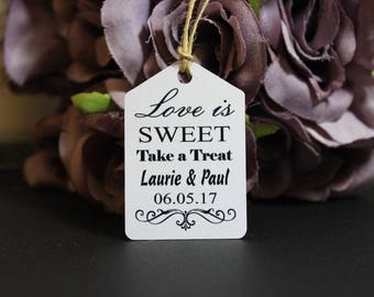 Personalised Handmade Wedding Favor Gift Tags Love is Sweet Take a Treat, Candy Cart Sweet Table, #brideandgroom, rustic wedding decor TGS10