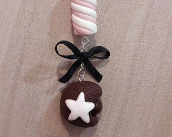 Keychain pendant elegant,graceful charm, chocolate cookie and marshmallow.