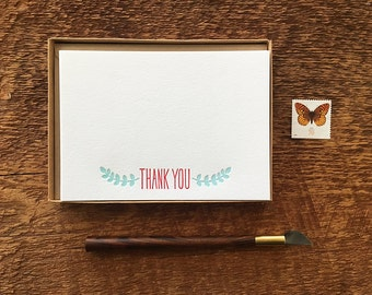 Thank you, Leaf Motif, Boxed Set of 8 Letterpress Flat Notes, Boxed Stationery